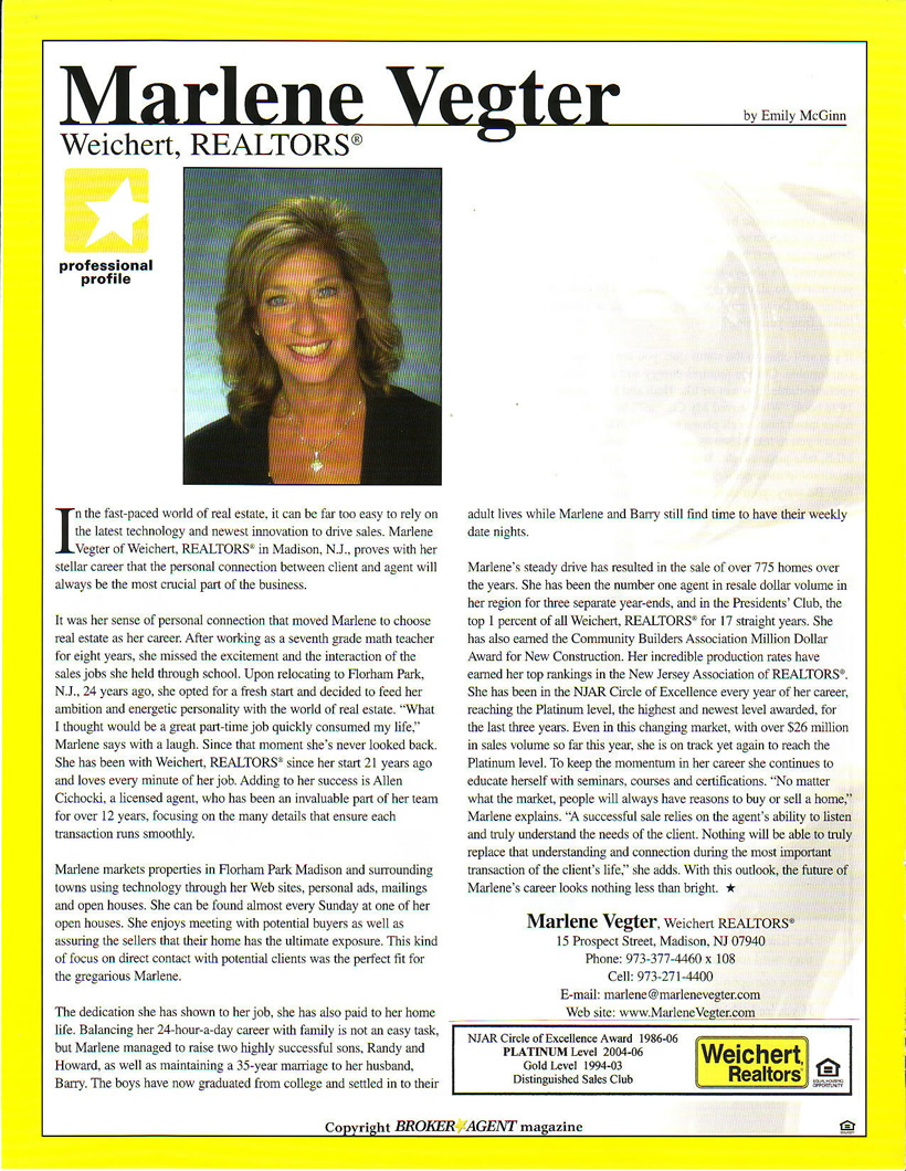 Article about Marlene Vegter in BrokerAgent Magazine, December 2007