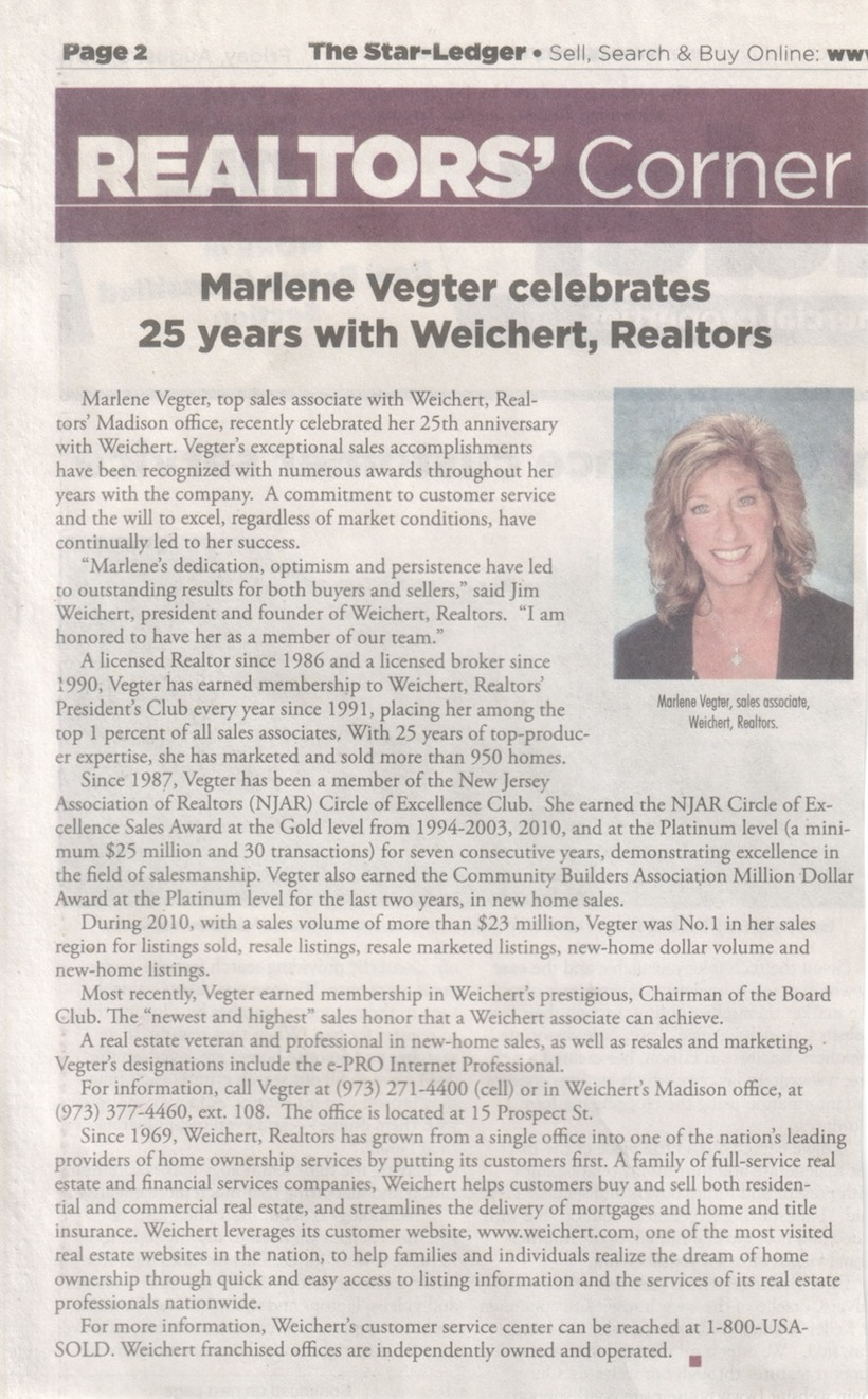Marlene Vegter Celebrates 25 Years at Weichert Realtors